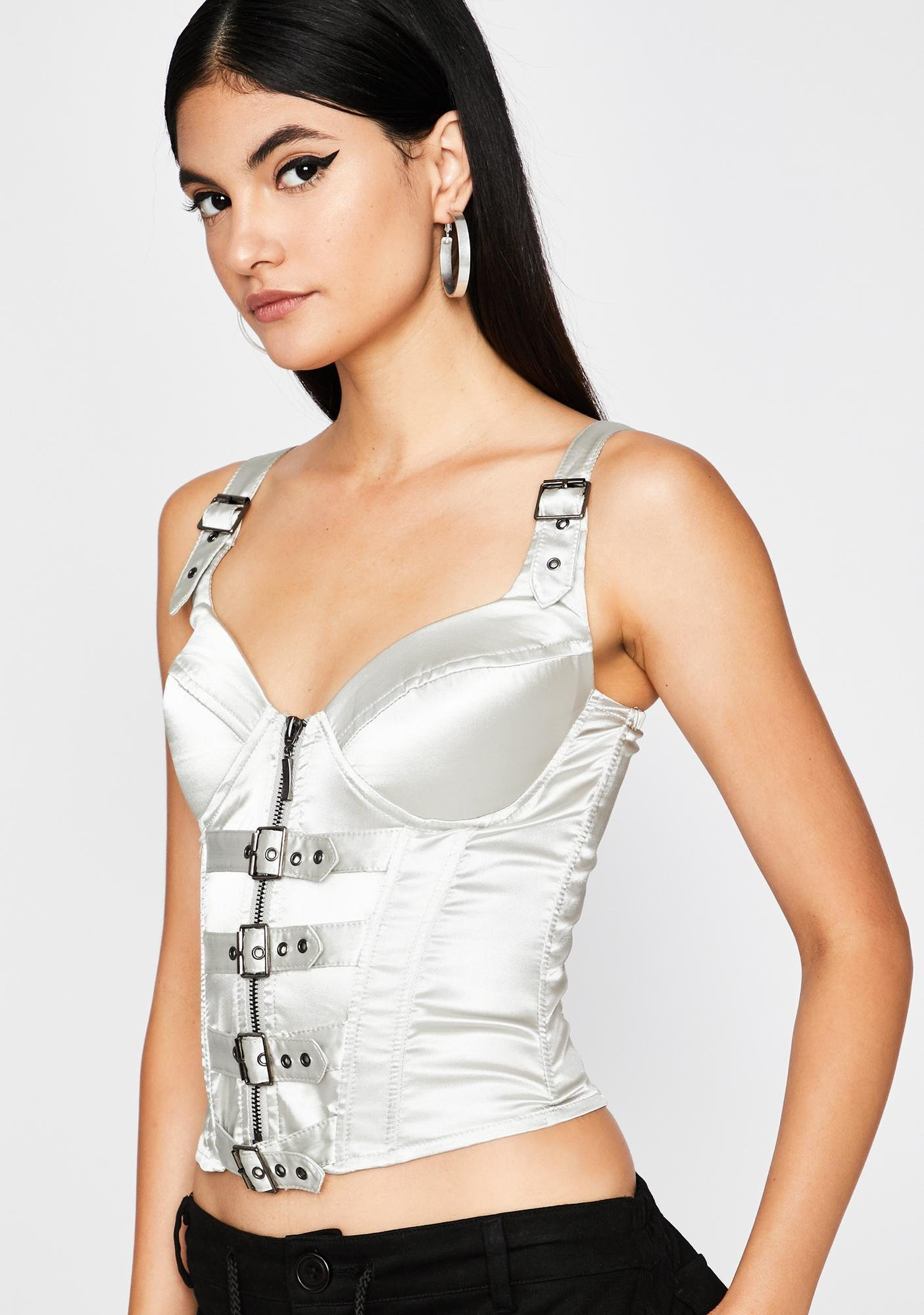 Chrome Buckle Down Corset Top