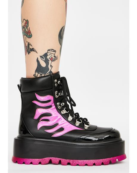 Purple Helios Flame Combat Boots