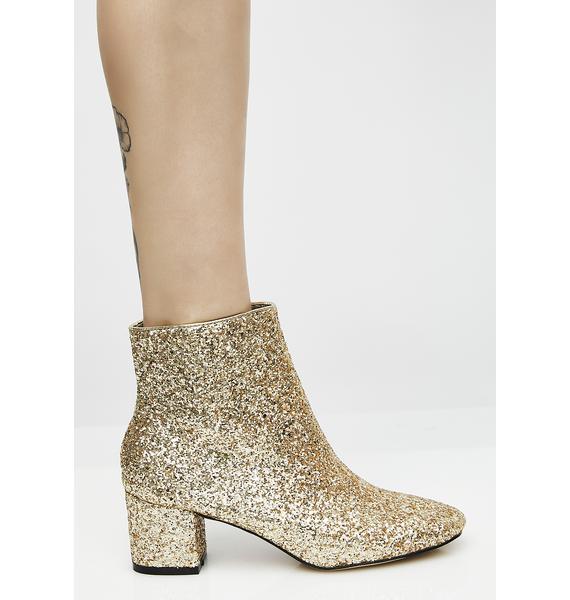 Golden Space Oddity Glitter Boots