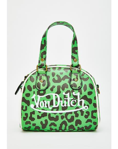 Green Leopard Small Bowling Bag