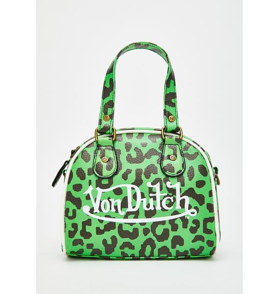 Von Dutch Green Leopard Small Bowling Bag