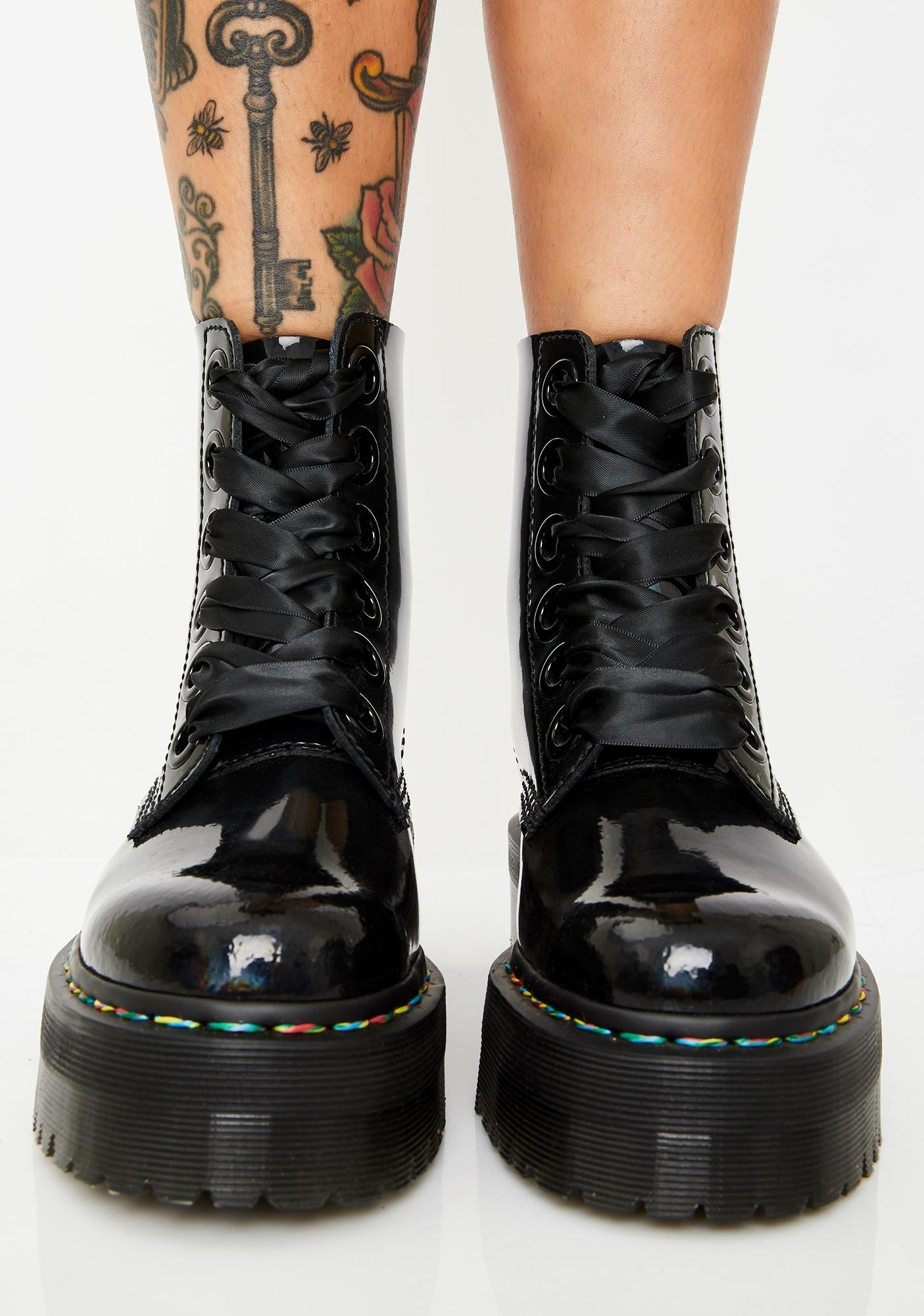 Dr. Martens Molly Rainbow Patent Boots