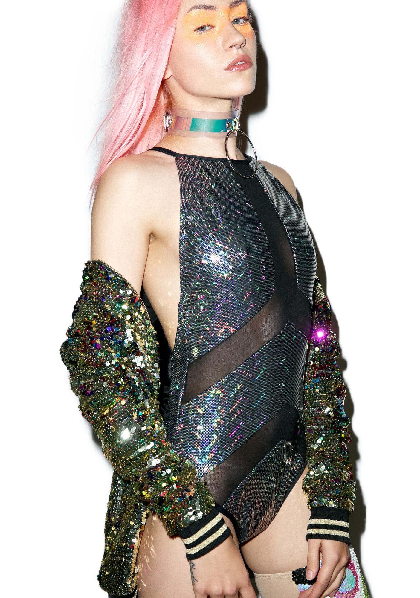 Jaded London Holographic Hazard Swimsuit