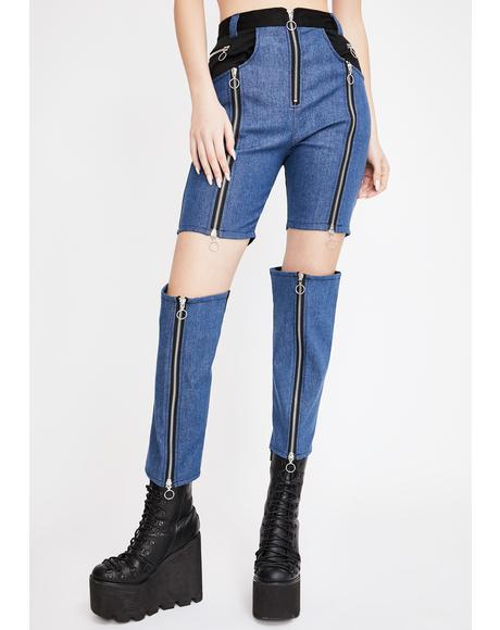 Ao Kuro Detachable Colorblock Jeans