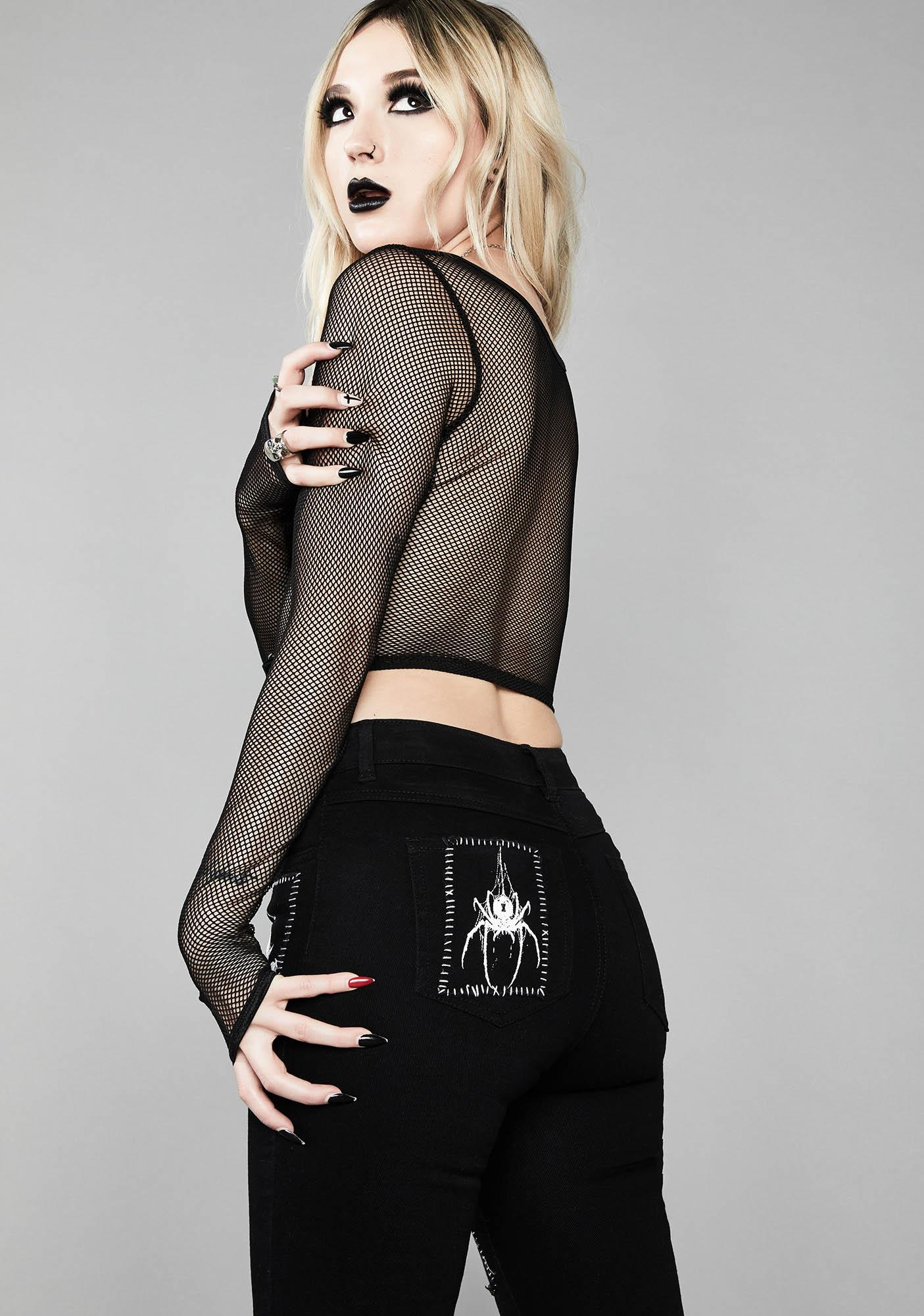 Widow Miss Murder Lace-Up Patch Jeans