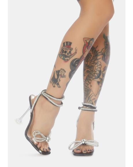 Glimmer Wrap Around Diamante Bow Heels