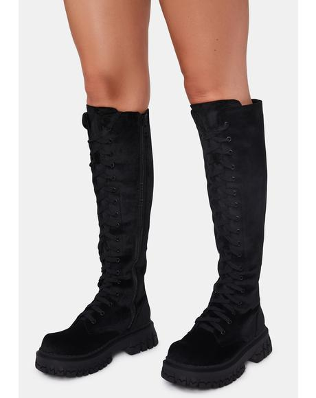 What You Get Velvet Combat Boots