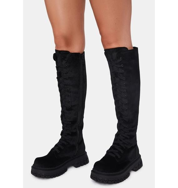 dELiA*s by Dolls Kill What You Get Velvet Combat Boots