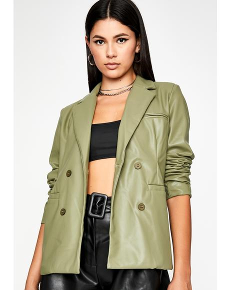 Get Paid Vegan Leather Blazer