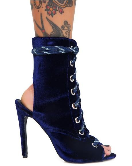 Riri Lace-Up Peep-Toe Ankle Boots