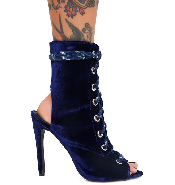 Public Desire Riri Lace-Up Peep-Toe Ankle Boots