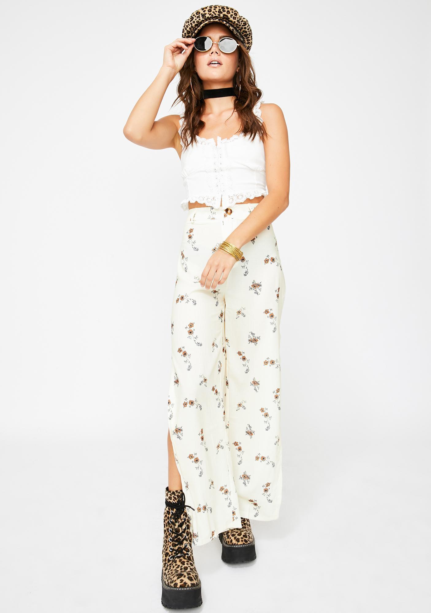 Momokrom Side Slit White Floral Trousers