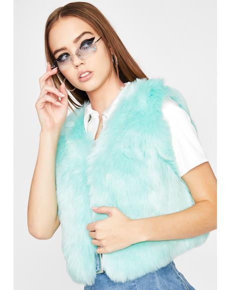 Mint Wild Gal Faux Fur Vest