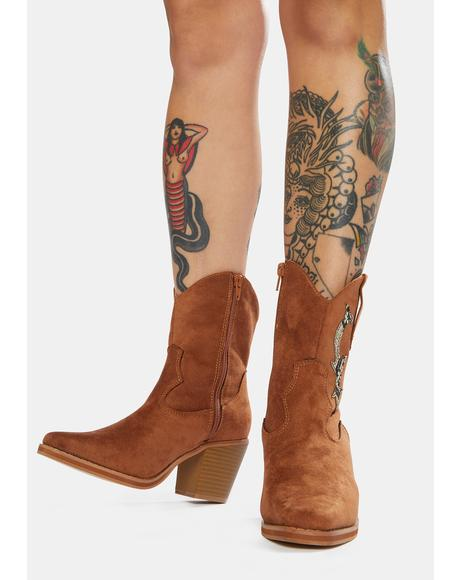 Penny Take A Hike Vegan Suede Cowboy Boots