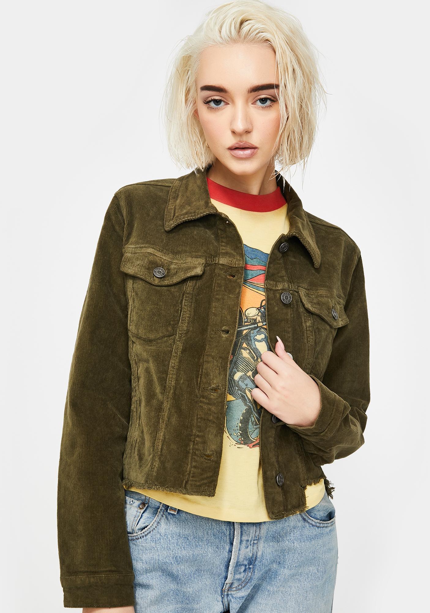 Hidden Denim Olive Corduroy Crop Jacket