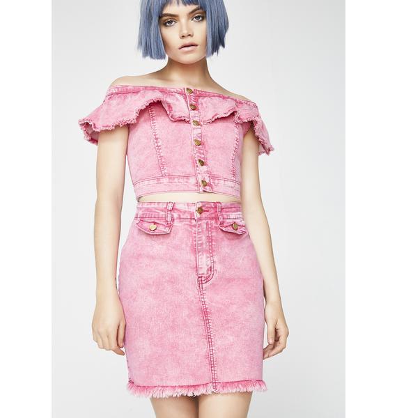 Lazy Oaf Pink Heart Denim Skirt