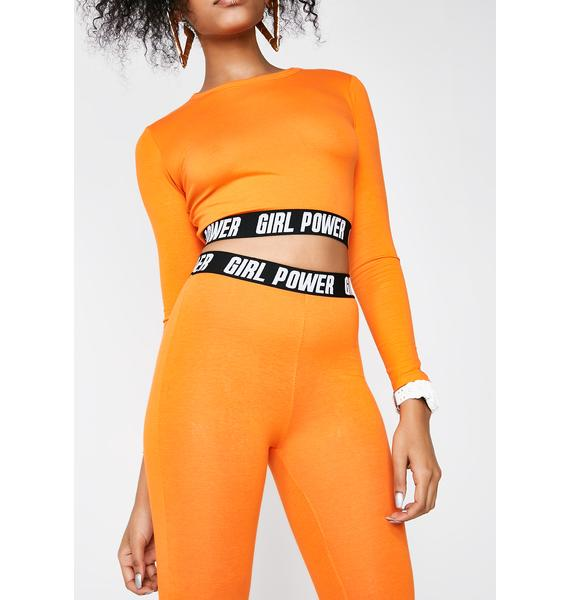 Minga Girl Power Elastic Orange Leggings