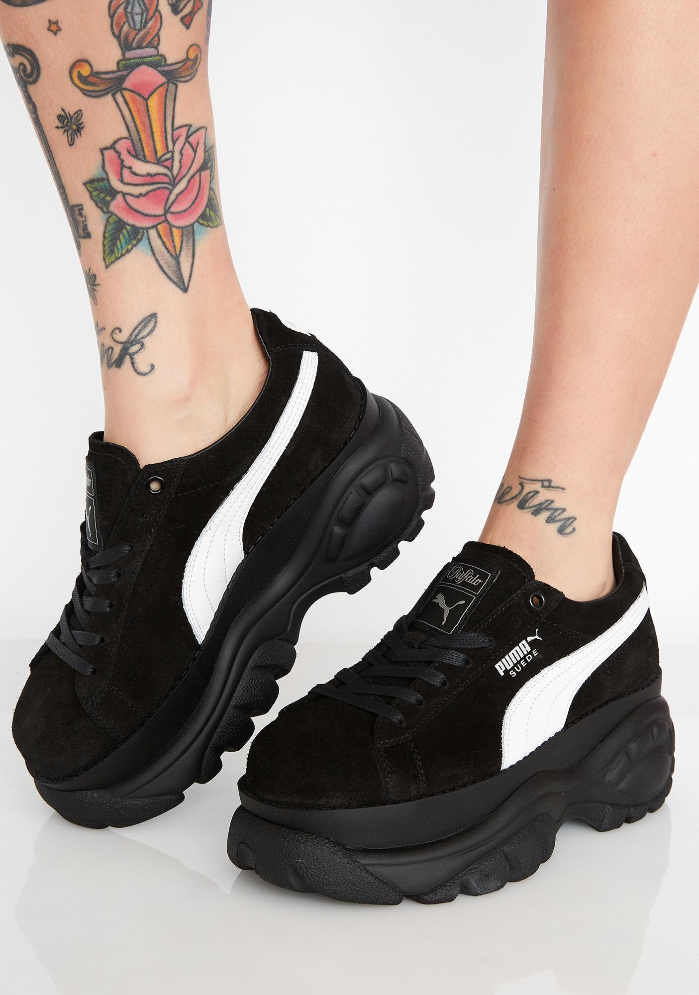 afebe660e569 PUMA x Buffalo Black Suede Platform Sneakers