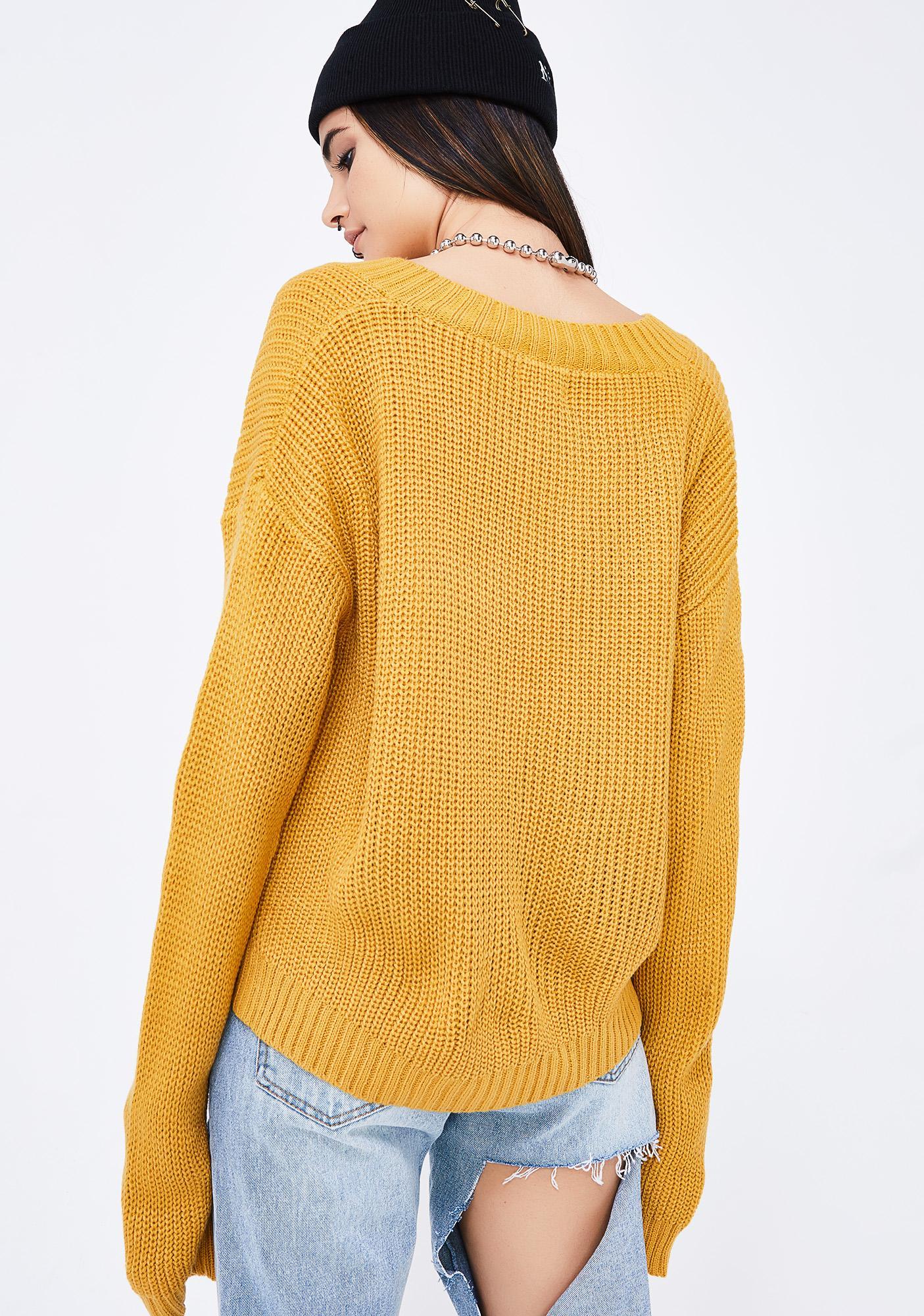 Yellow V Neck Knit Sweater | Dolls Kill