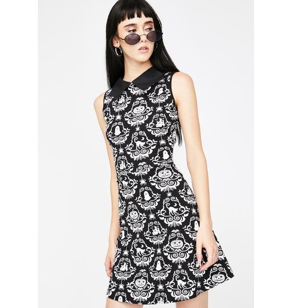 Too Fast Gothic Damask Bat Collar Dress