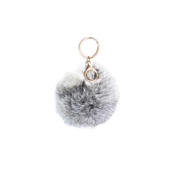 Clueless Grey Fluffy Pom Keychain