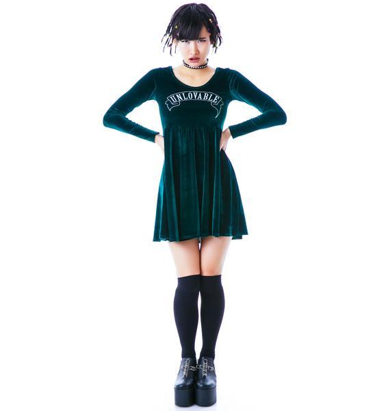 United Couture Unlovable Long Sleeve Velvet Dress