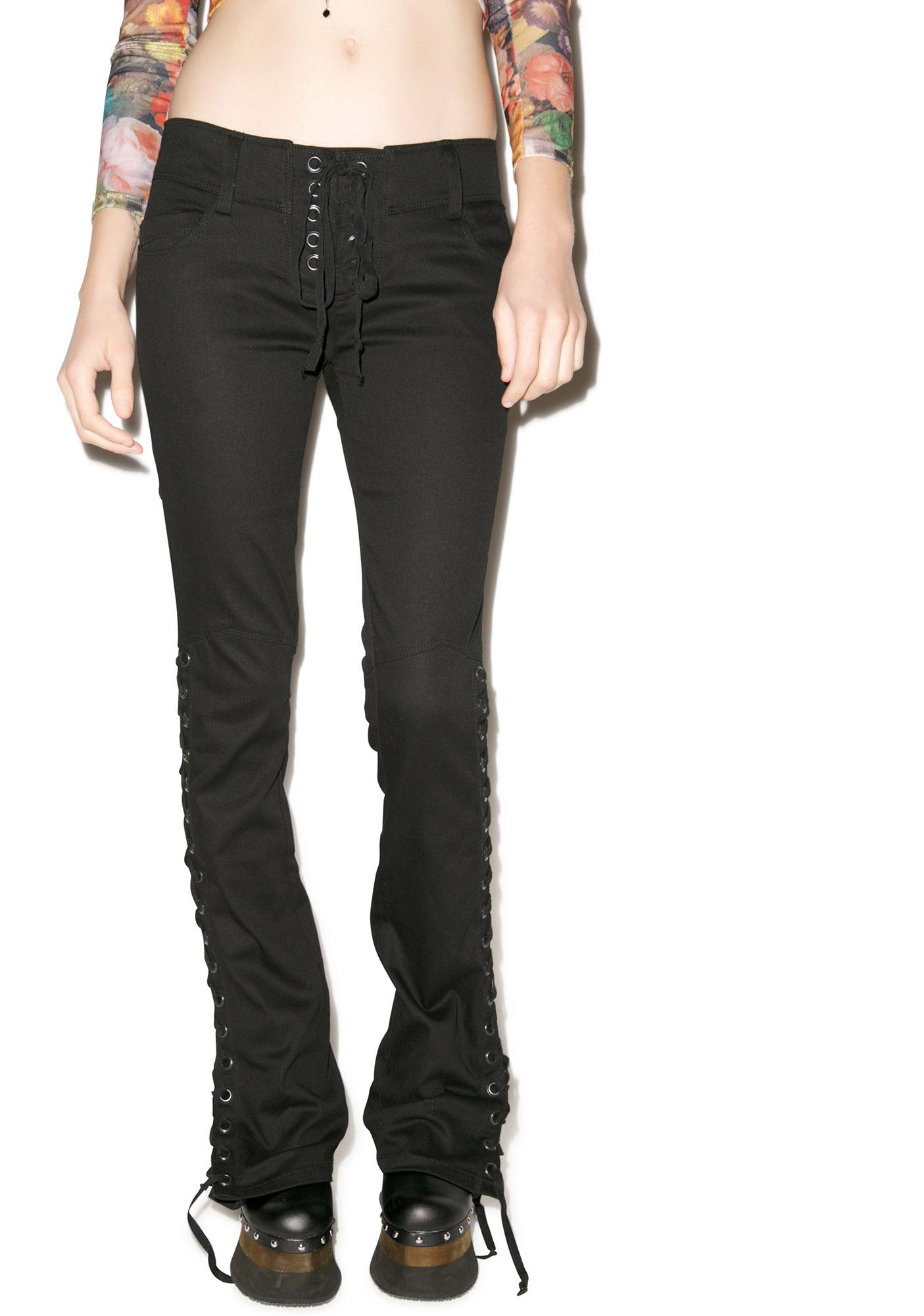 Lip Service Baby Boot Lace Up Stretch Twill Jeans