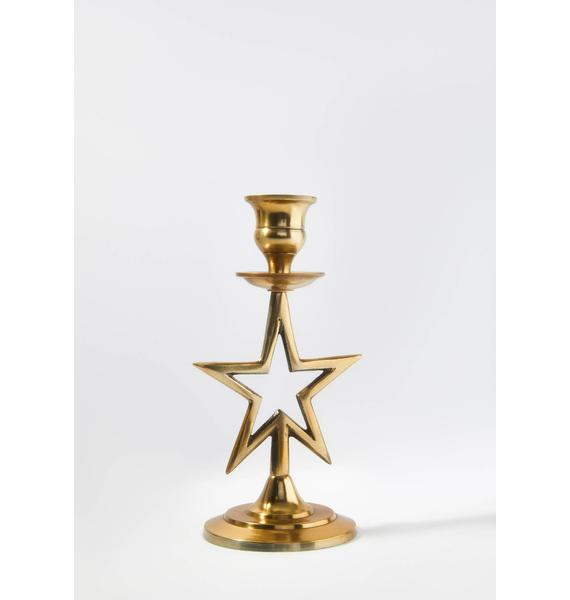 Shine Bright Brass Star Candle Holder