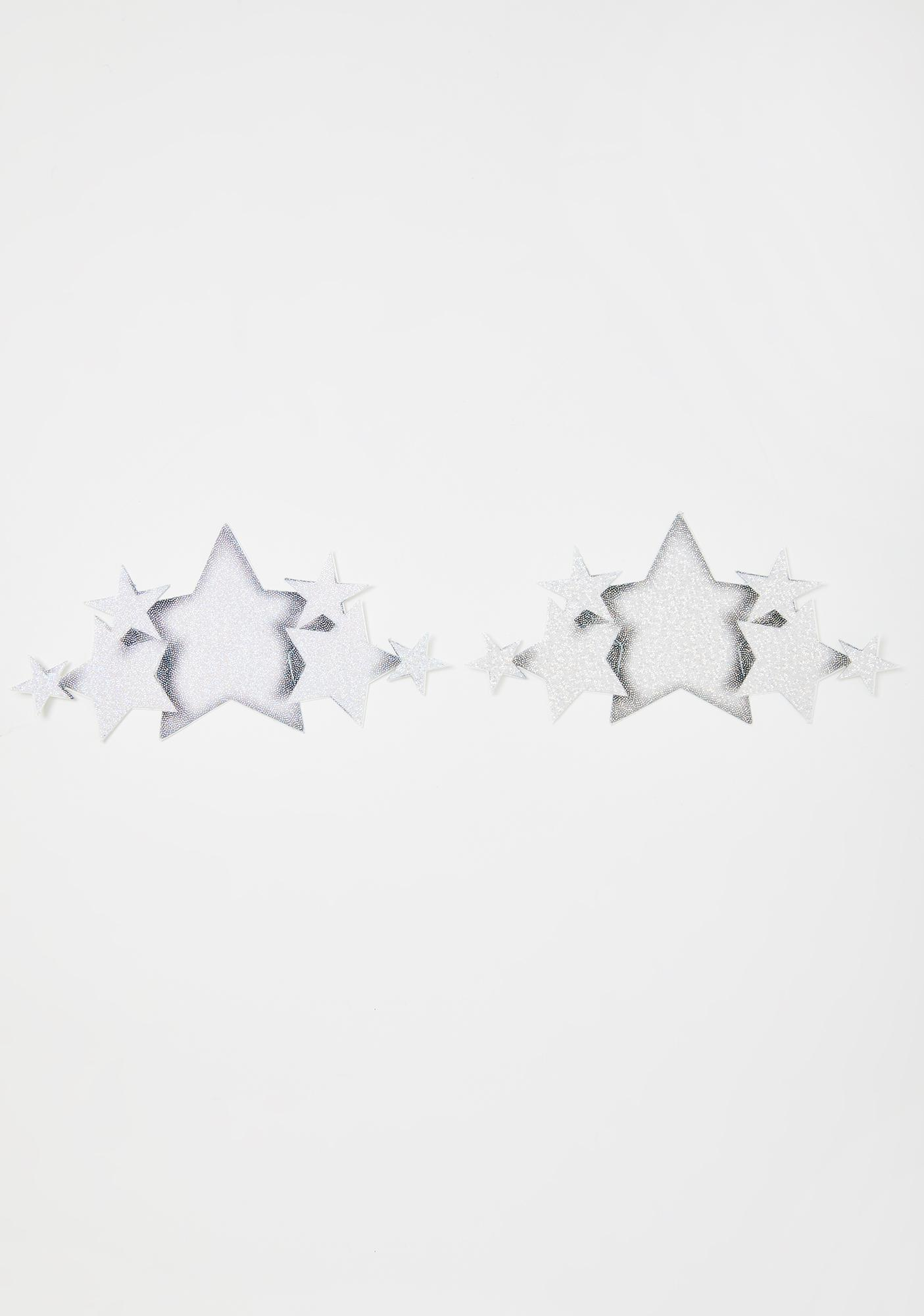 Pastease Silver Glitter Star Demi Pasties