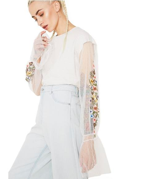 Les Fleurs Embroidered Mesh Top