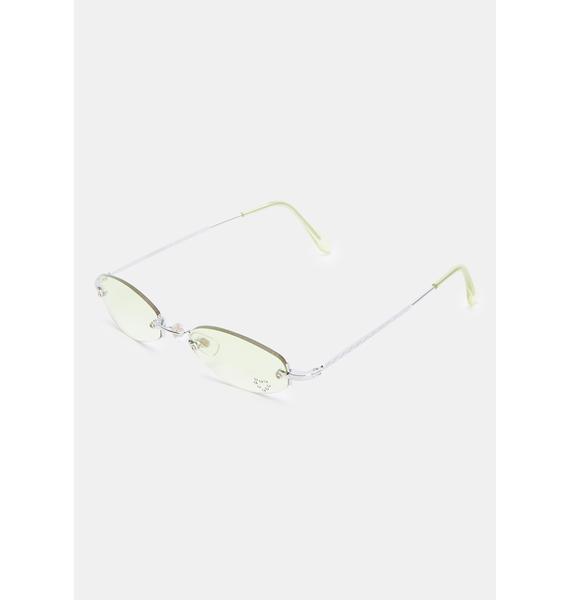 Good Times Eyewear Oval Rhinestone Yellow Sunglasses