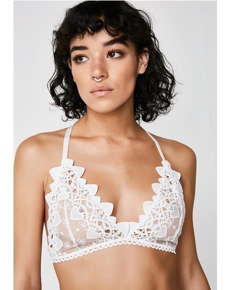 Snow Drop Venetian Lace Flowers Bra