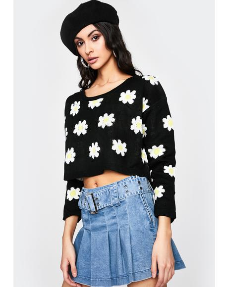 Dainty Daisies Cropped Sweater