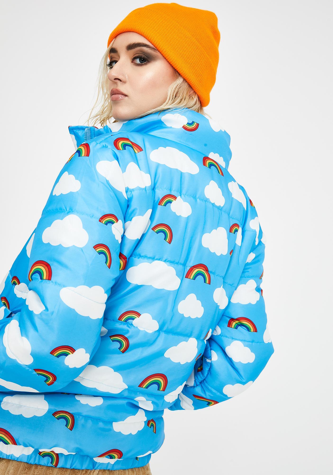 Daisy Street Rainbow N' Cloud Puffer Jacket