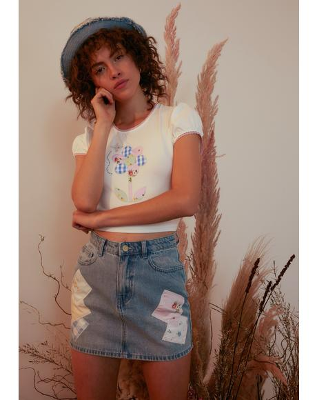 Dose Of Happy Patchwork Denim Skirt