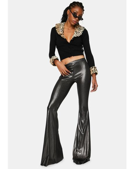 Disco Darkness Metallic Flare Pants