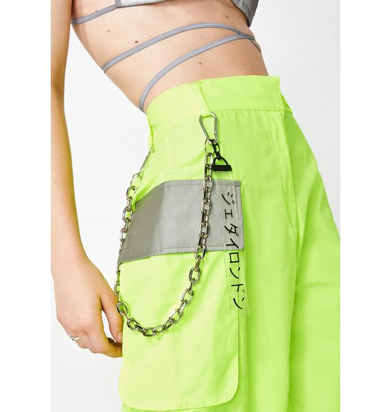 Jaded London Slime Neon Reflectionz Cargo Shorts