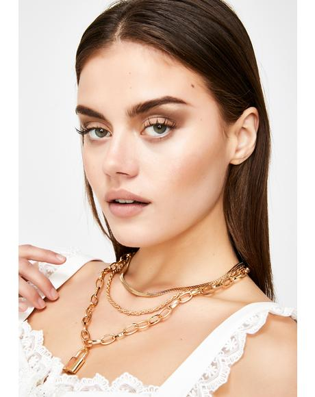Bougie Fully Locked Up Layered Necklace