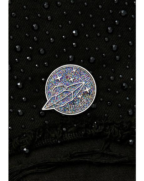 Silver Glitter Planet Enamel Pin