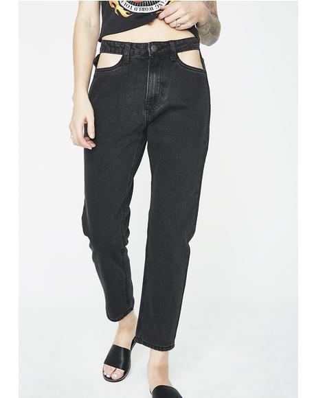 Cut Out Pocket Jeans