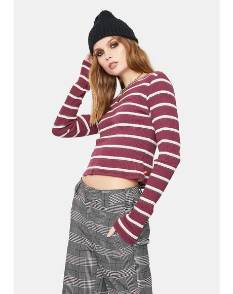 Ribbed Striped Long Sleeve Tee