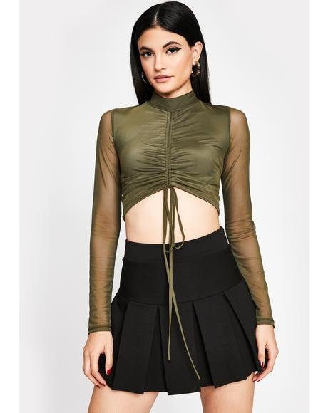 Olive Pullin' Tricks Ruched Top