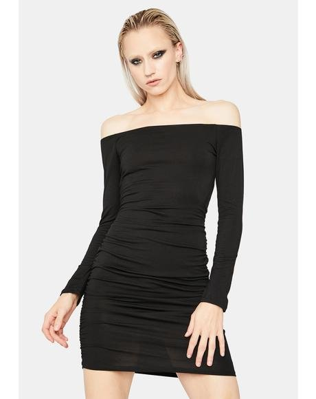 Dark Billionaire Beau Off Shoulder Mini Dress