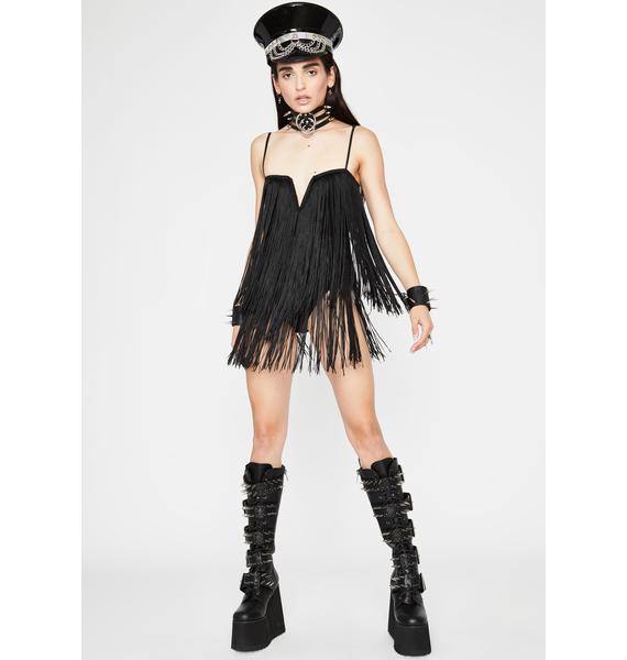 Midnight Festie Frenzy Fringe Bodysuit