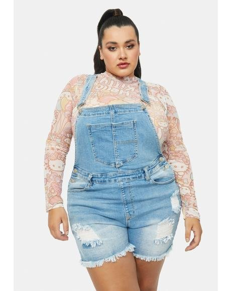 Counter Culture Distressed Denim Short Overalls