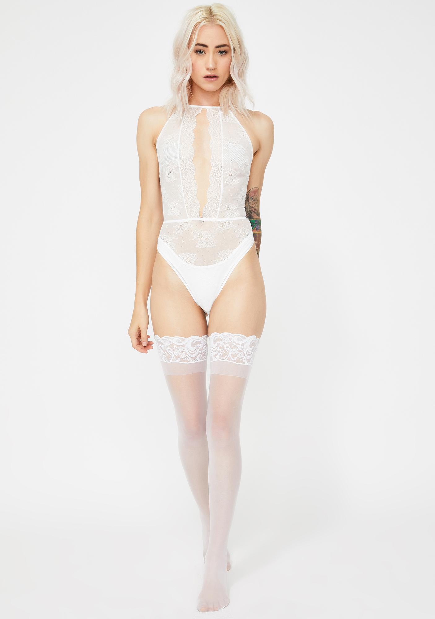Momokrom Lace Halter Cut Out Bodysuit