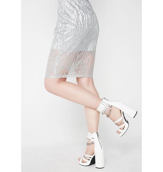 The Madonna Label Bodycon Silver Stripe Dress