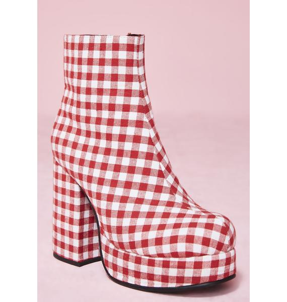 Sugar Thrillz Swt Like Cherry Pie Gingham Boots