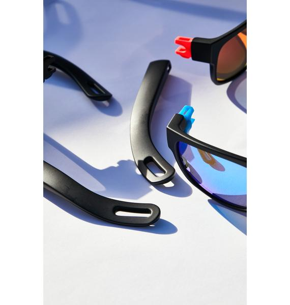 Vicerays Blue Hidden Storage Mirror Lens Sunglasses