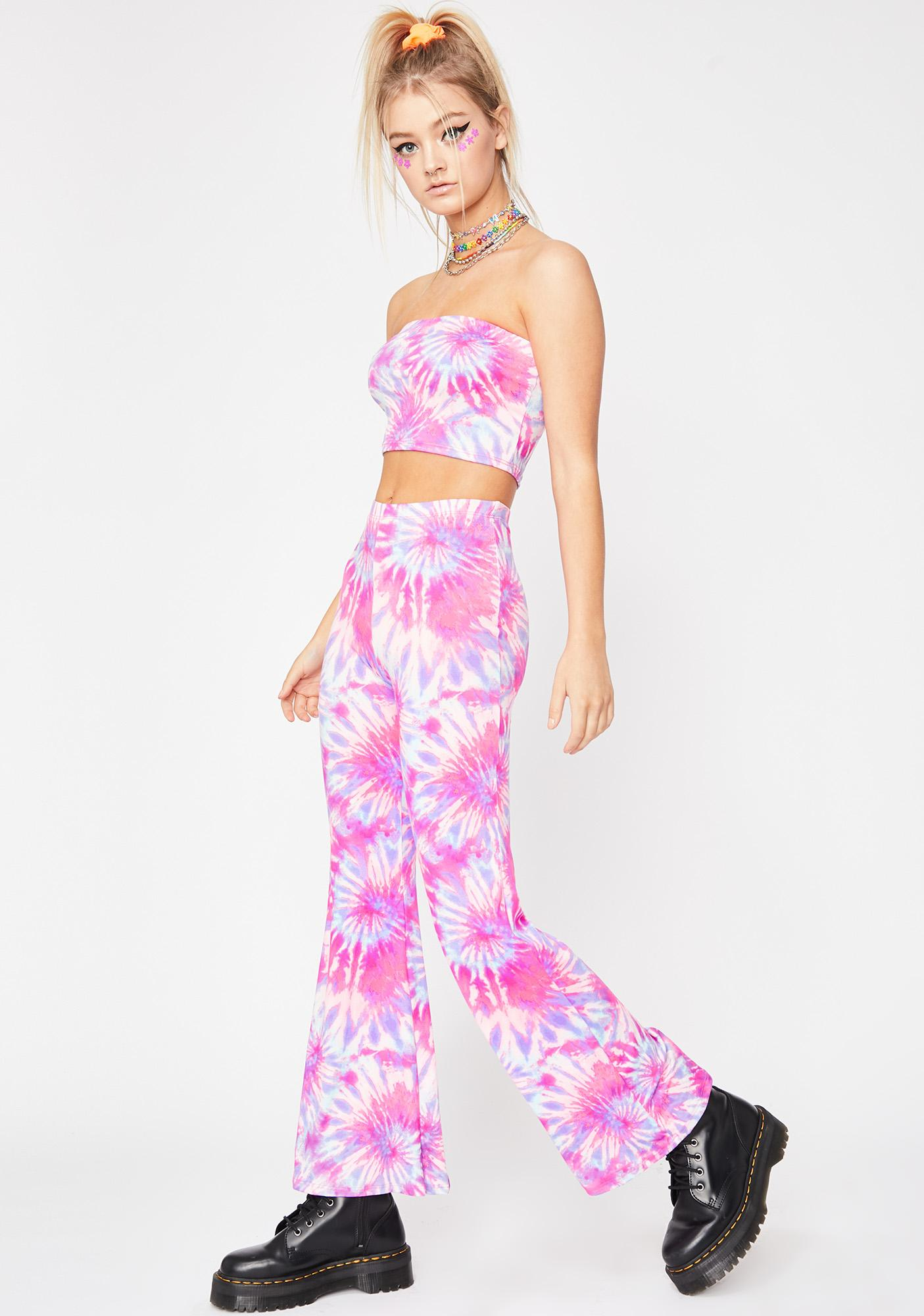 c8acef7bb54 Tie Dye Tube Top Flares Set